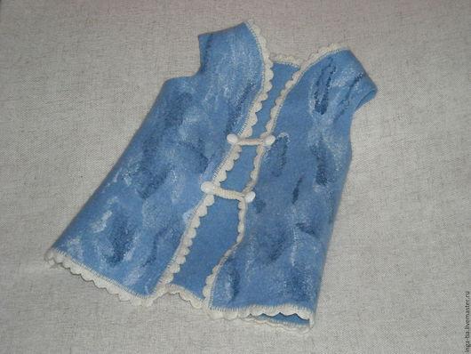 """Одежда унисекс ручной работы. Ярмарка Мастеров - ручная работа. Купить Жилетка детская валяная """"Голубое море"""". Handmade. Голубой"""