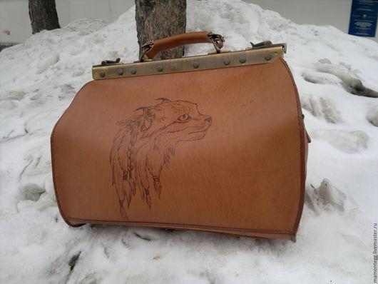 Женские сумки ручной работы. Ярмарка Мастеров - ручная работа. Купить Саквояж с рысью. Handmade. Рыжий, саквояж из кожи, кожа