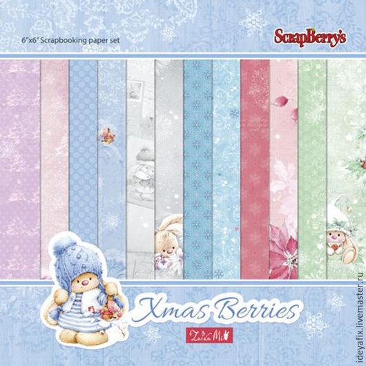 В набор входит 24 листа односторонней бумаги с дизайнами коллекции (12 дизайнов по 2 листа каждого)..  Размер: 15х15 см. Плотность: 170 гр/м Коллекция: Однажды Зимой (Xmas Berries).
