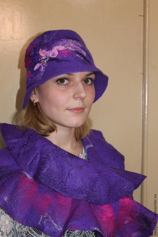 """Шляпы ручной работы. Ярмарка Мастеров - ручная работа. Купить шляпка валяная """"Ирис"""". Handmade. Тёмно-фиолетовый, шапка"""