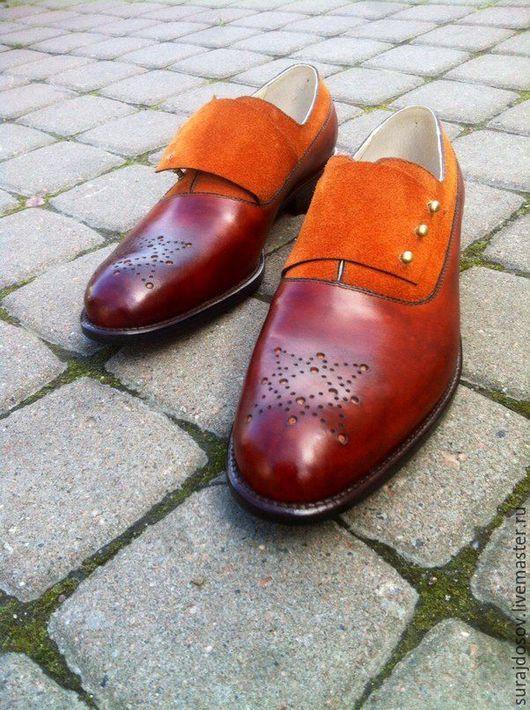 """Обувь ручной работы. Ярмарка Мастеров - ручная работа. Купить Оксфорды муж. - """"wide strap"""". Handmade. Оранжевый, туфли мужские"""