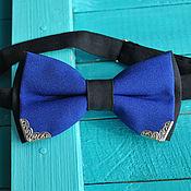 handmade. Livemaster - original item Blue tie Grand / bow tie blue with black edges. Handmade.