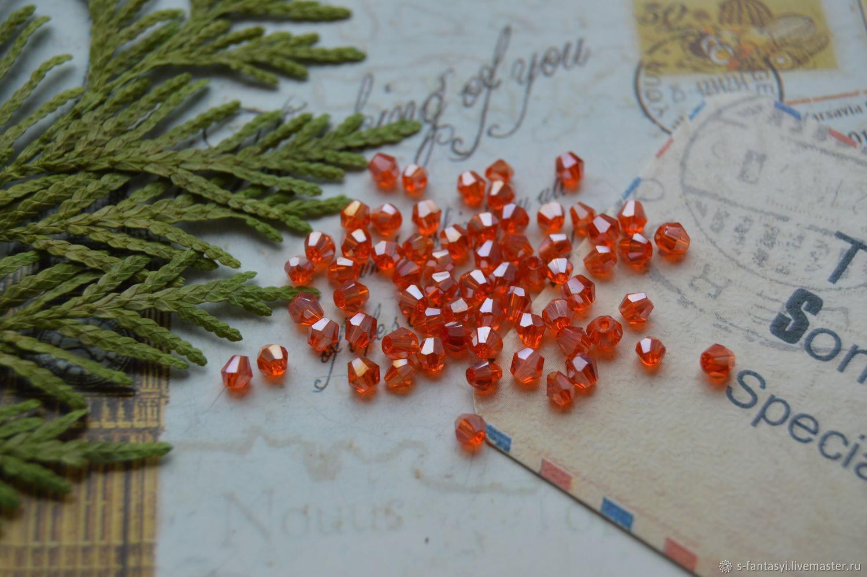 Biconuses 'Orange' 3h3 mm, Beads1, Stavropol,  Фото №1