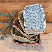 Для дома и интерьера ручной работы. Ярмарка Мастеров - ручная работа Плетеные корзины-подносики (для АКЦИИ). Handmade.