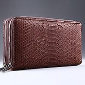Сумки и аксессуары handmade. Livemaster - original item Python leather clutch with two zippers IMP0013K. Handmade.