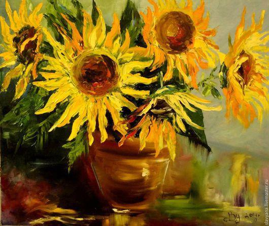 Картины цветов ручной работы. Ярмарка Мастеров - ручная работа. Купить Солнце. Handmade. Оранжевый, подсолнухи, масляная живопись, радость