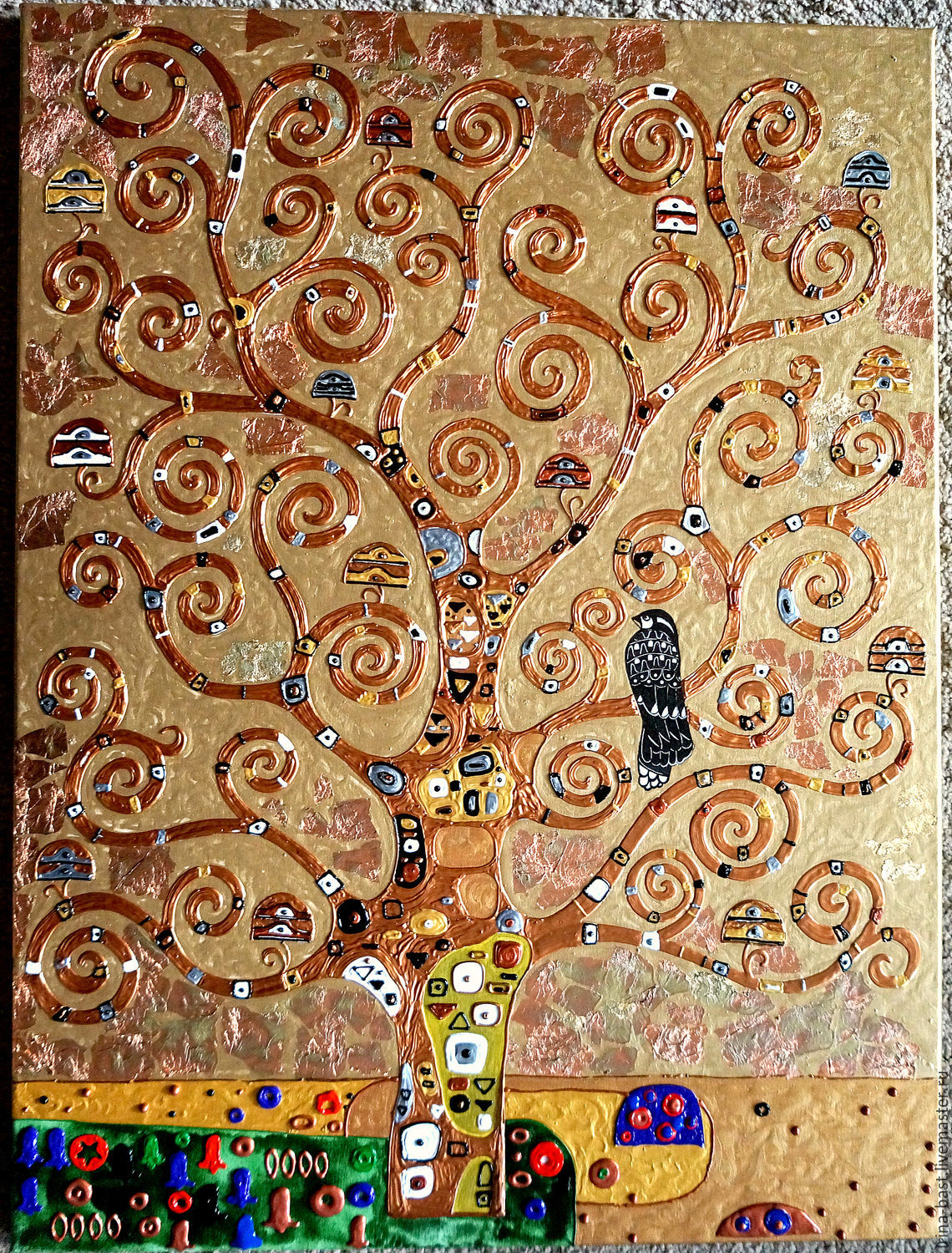 Relief painting with gold petal The Tree of Life. Gustav Klimt, Pictures, St. Petersburg,  Фото №1