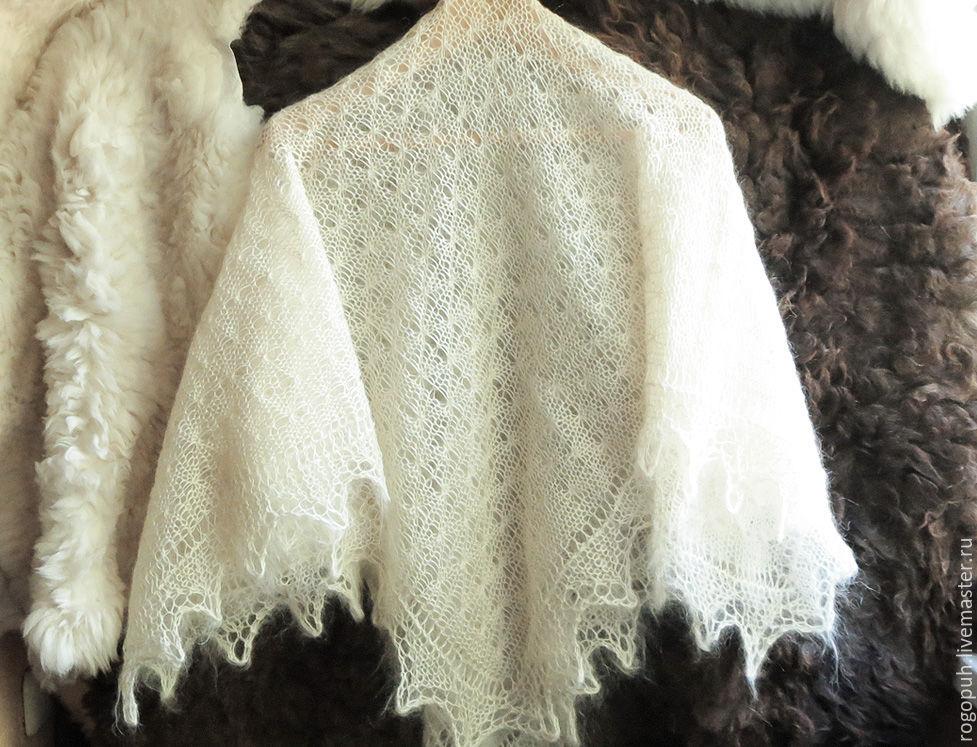 Купить Шаль из натурального козьего пуха белая - белый, платок IB76