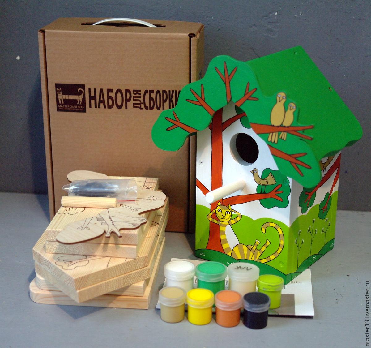Развивающие игрушки ручной работы. Ярмарка Мастеров - ручная работа. Купить Скворечник 'Рыжий кот' в виде набора для сборки с красками. Handmade.