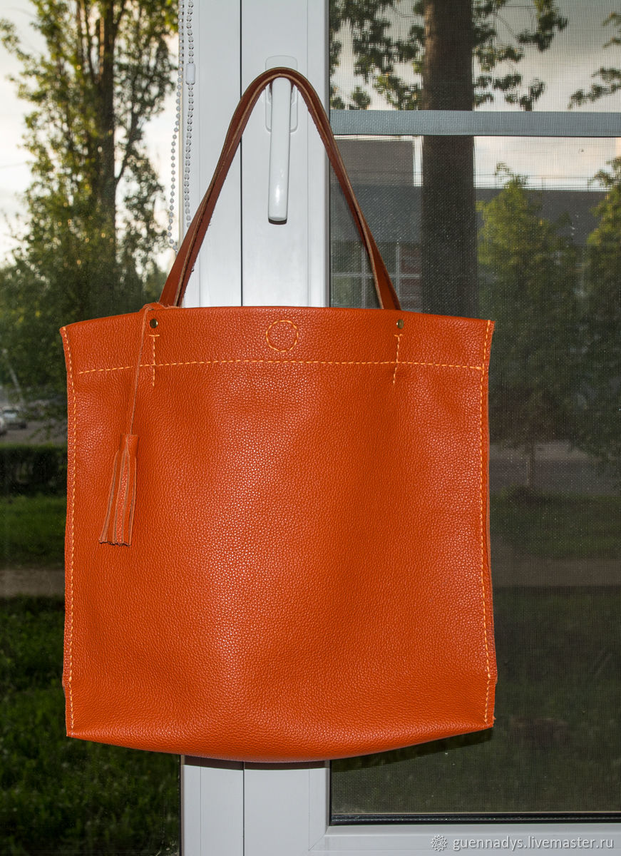 60eaceb87d Bag shopper, the package is genuine leather bright orange color – shop  online on Livemaster with shipping - FT98XCOM | Livny