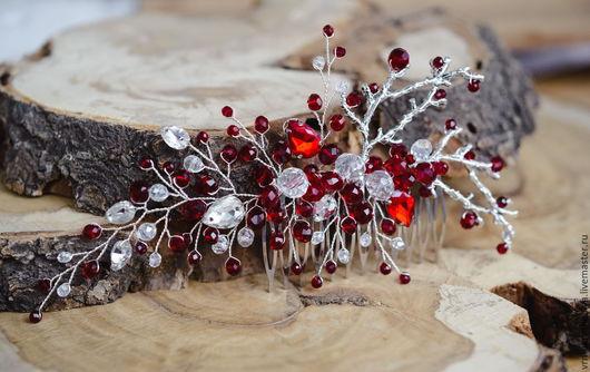 Свадебные украшения ручной работы. Ярмарка Мастеров - ручная работа. Купить Украшение для прически в бордовом цвете с веточками. Handmade. Бордовый