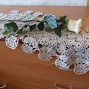 Для дома и интерьера ручной работы. Ярмарка Мастеров - ручная работа Дорожка льняная с узором из цветов. Handmade.