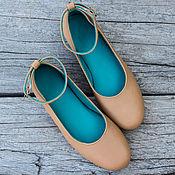 Обувь ручной работы handmade. Livemaster - original item Leather ballet flats with strap. Ballet shoes made of genuine leather. Handmade.