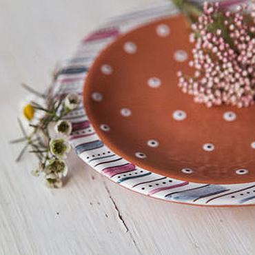 Посуда ручной работы. Ярмарка Мастеров - ручная работа Сливовый пудинг. Блюдце/Пирожковая тарелочка ручной работы, керамика. Handmade.