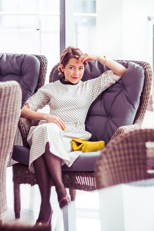 Платья ручной работы. Ярмарка Мастеров - ручная работа. Купить Джинсовый горошек - платье миди. Handmade. Белый, платье вечернее