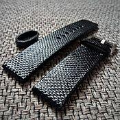 Аксессуары handmade. Livemaster - original item Leather strap black snake. Handmade.