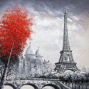 Картины и панно ручной работы. Ярмарка Мастеров - ручная работа Париж. Вид на Эйфелеву башню через Сену. Красно-черная версия N4. Handmade.