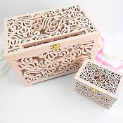 Свадебный салон handmade. Livemaster - original item Wedding set: wooden Treasury and wedding ring box. Handmade.