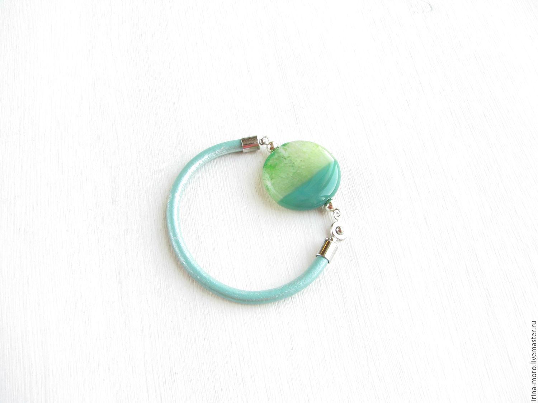 Irina Moro.   Irene Moreau. Stylish silver bracelet `Mint` leather and agate. Women's leather bracelet. stylish bracelet. Thin bangle.