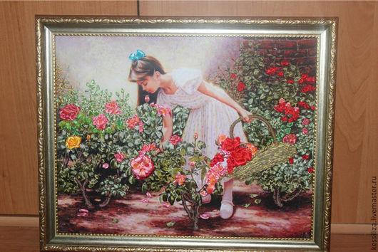 Люди, ручной работы. Ярмарка Мастеров - ручная работа. Купить Картина атласными лентами Девушка в саду. Handmade. Разноцветный, цветы