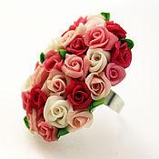 Украшения handmade. Livemaster - original item Ring Million scarlet roses.Roses. polymer clay. Handmade.. Handmade.