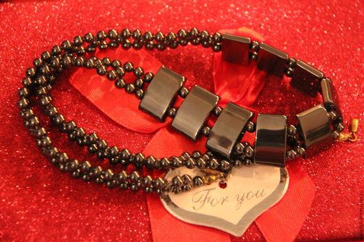 ожерелье, натуральный гематит, ручная работа, винтаж, железная роза, подарок