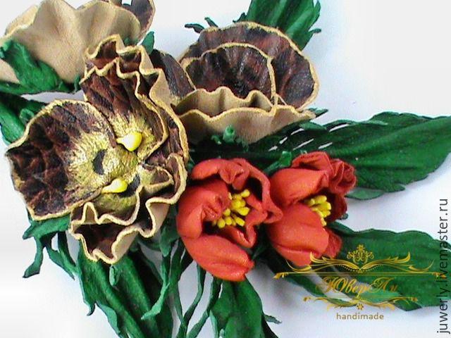 Декоративные цветы из кожи на заказ москва купить розы