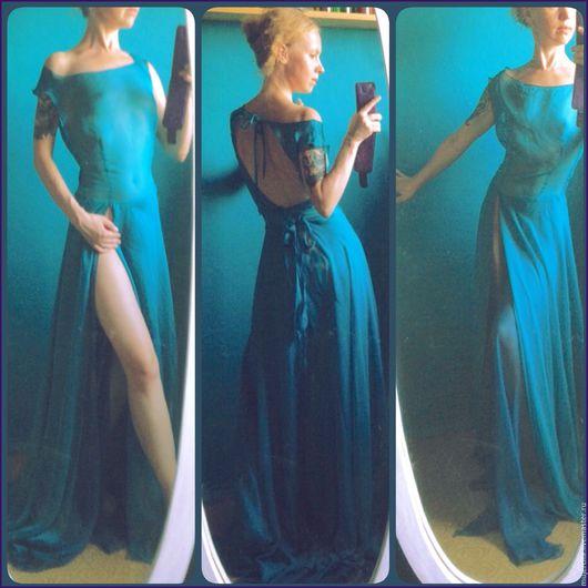 """Платья ручной работы. Ярмарка Мастеров - ручная работа. Купить Платье """"Pajaro azul"""" (продано). Handmade. Тёмно-бирюзовый, платье"""
