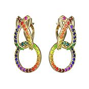 Earrings handmade. Livemaster - original item Earrings Multicolor sapphires gold. Handmade.