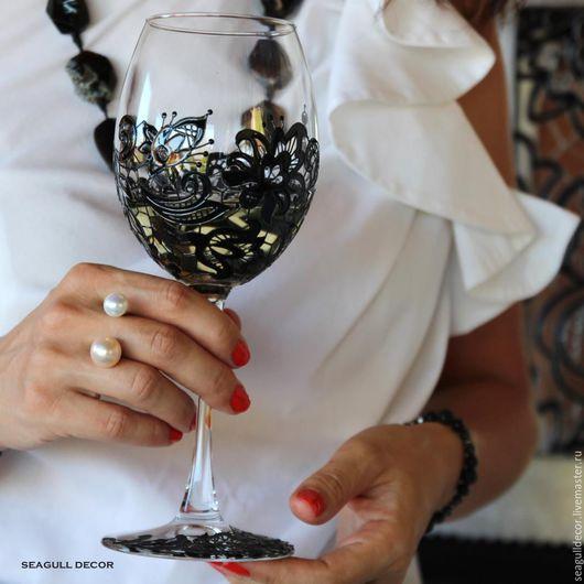 Бокалы, стаканы ручной работы. Ярмарка Мастеров - ручная работа. Купить Бокалы Черное кружево. Роспись по стеклу.. Handmade. Черный