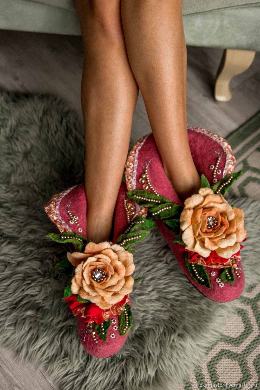 Women's felted Slippers ' Tea rose 2', Slippers, Ekaterinburg,  Фото №1