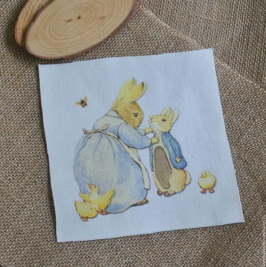 Купон Кролик Поттер с мамой, лен 15х15см, 3143