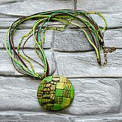 handmade. Livemaster - original item The Khaki pendant Mosaic polymer clay. Handmade.