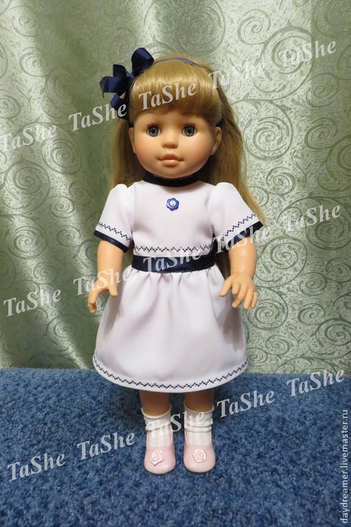 """Одежда для кукол ручной работы. Ярмарка Мастеров - ручная работа. Купить Платье для кукол """"Вспоминая о море"""". Handmade. Белый, кнопки"""