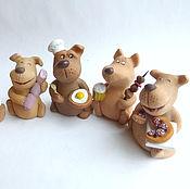 Подарки к праздникам handmade. Livemaster - original item Dinner is served! Ceramics. Figurines of dogs. Symbol 2018. Handmade.