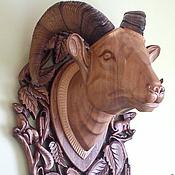 Голова барана деревянная  с рогами (охотничий троф).