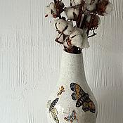 Для дома и интерьера ручной работы. Ярмарка Мастеров - ручная работа Ваза с мотыльками. Handmade.