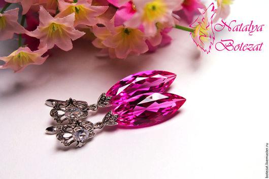 Серьги с крупными большими ювелирными камнями розовыми топазами на элитной родированойй фурнитуре с фианитами английский замок. Подарок маме подруге женщине коллеге купить