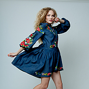 """Одежда ручной работы. Ярмарка Мастеров - ручная работа Летнее джинсовое платье бохо """"Буйное цветение"""" ручная вышивка гладью. Handmade."""