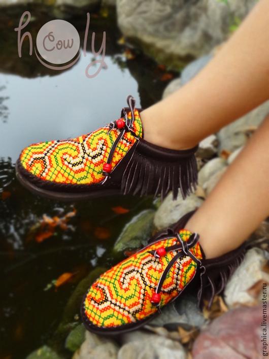 """Обувь ручной работы. Ярмарка Мастеров - ручная работа. Купить Кожаные ботиночки """"Brown Happy Hippie"""". Handmade. Коричневый"""