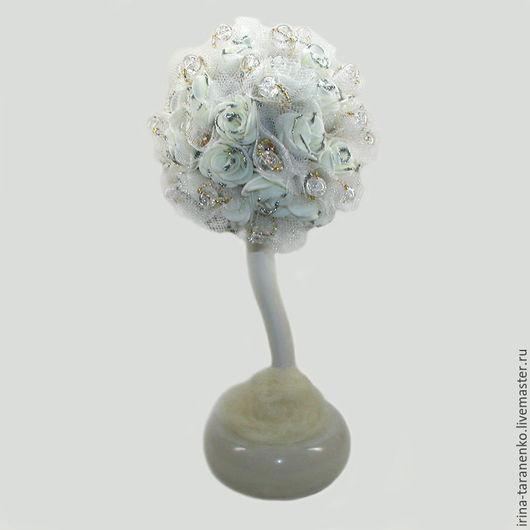 Дерево-топиарий из горного хрусталя `Свадебное` в чаше из оникса
