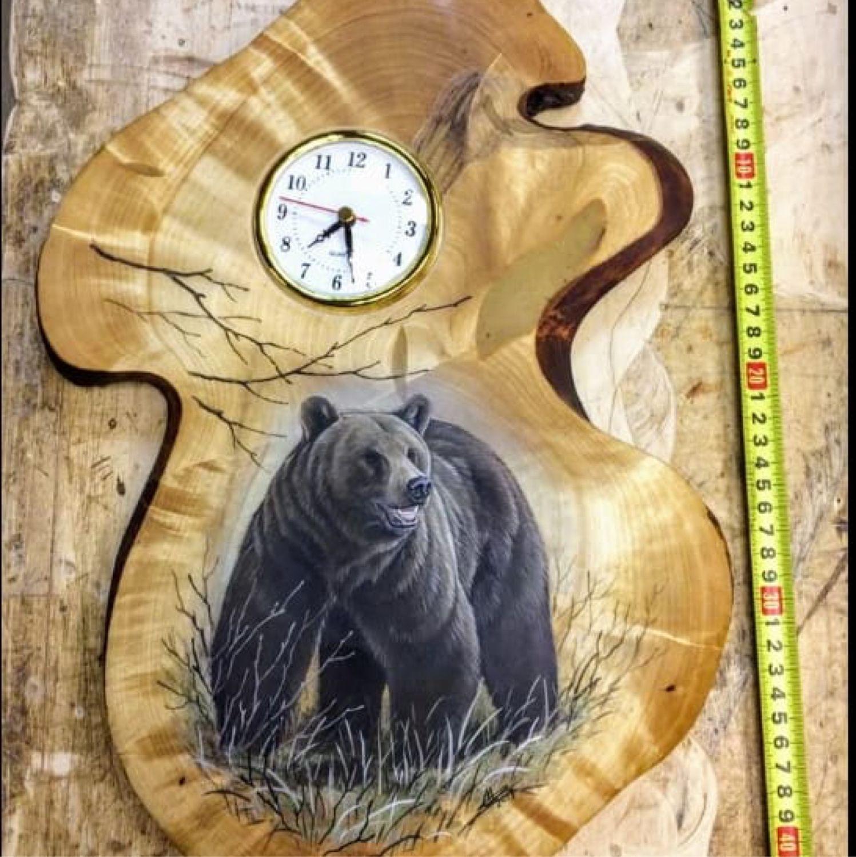 Часы настенные из Берёзового Капа и корня сосны, Часы каминные, Мурманск,  Фото №1