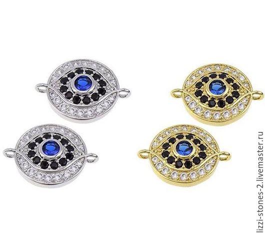 Коннектор круглый `от сглаза` серебро и золото (Milano) Евгения (Lizzi-stones-2)
