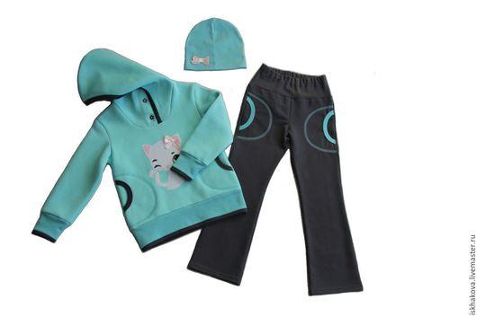 Одежда для девочек, ручной работы. Ярмарка Мастеров - ручная работа. Купить Худи, брюки и шапочка для девочки. Handmade. Комбинированный, худи