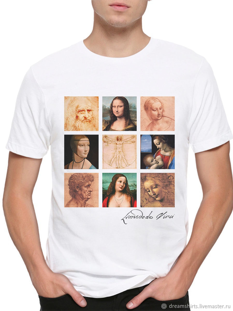 T-shirt cotton ' Leonardo Da Vinci', T-shirts and undershirts for men, Moscow,  Фото №1
