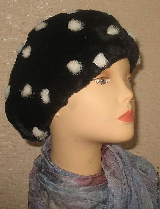 """Береты ручной работы. Ярмарка Мастеров - ручная работа. Купить Классический """"БЕРЕТ"""" из мутона и норки.Женская шапка. Handmade."""
