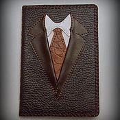 Канцелярские товары ручной работы. Ярмарка Мастеров - ручная работа Обложка для паспорта Настоящий мужчина кожа с вышивкой. Handmade.