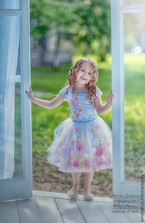 Одежда для девочек, ручной работы. Ярмарка Мастеров - ручная работа. Купить Цветочное платье. Handmade. Бледно-сиреневый, принцесса