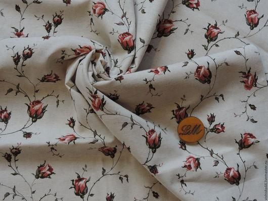 Шитье ручной работы. Ярмарка Мастеров - ручная работа. Купить ткань лен хлопок розы на натуральном фоне. Handmade. Лен