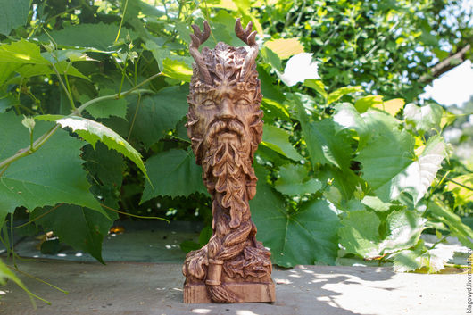 """Статуэтки ручной работы. Ярмарка Мастеров - ручная работа. Купить Леший """"Greenman"""". Handmade. Леший, леший из дерева, ольха"""